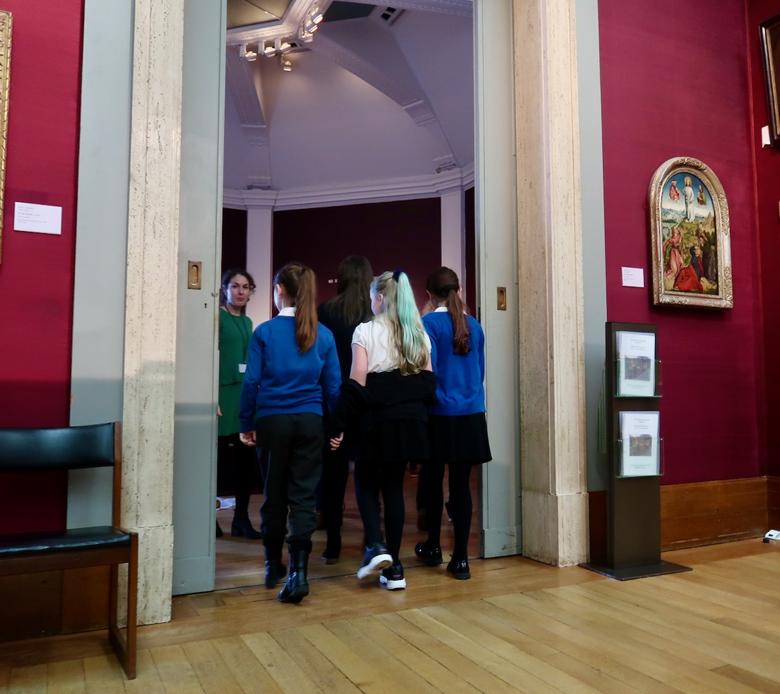 Pupils enter the Octagon Gallery where the Inspire Exhibition is being installed