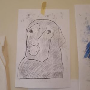 monoprint of a dog in black ink