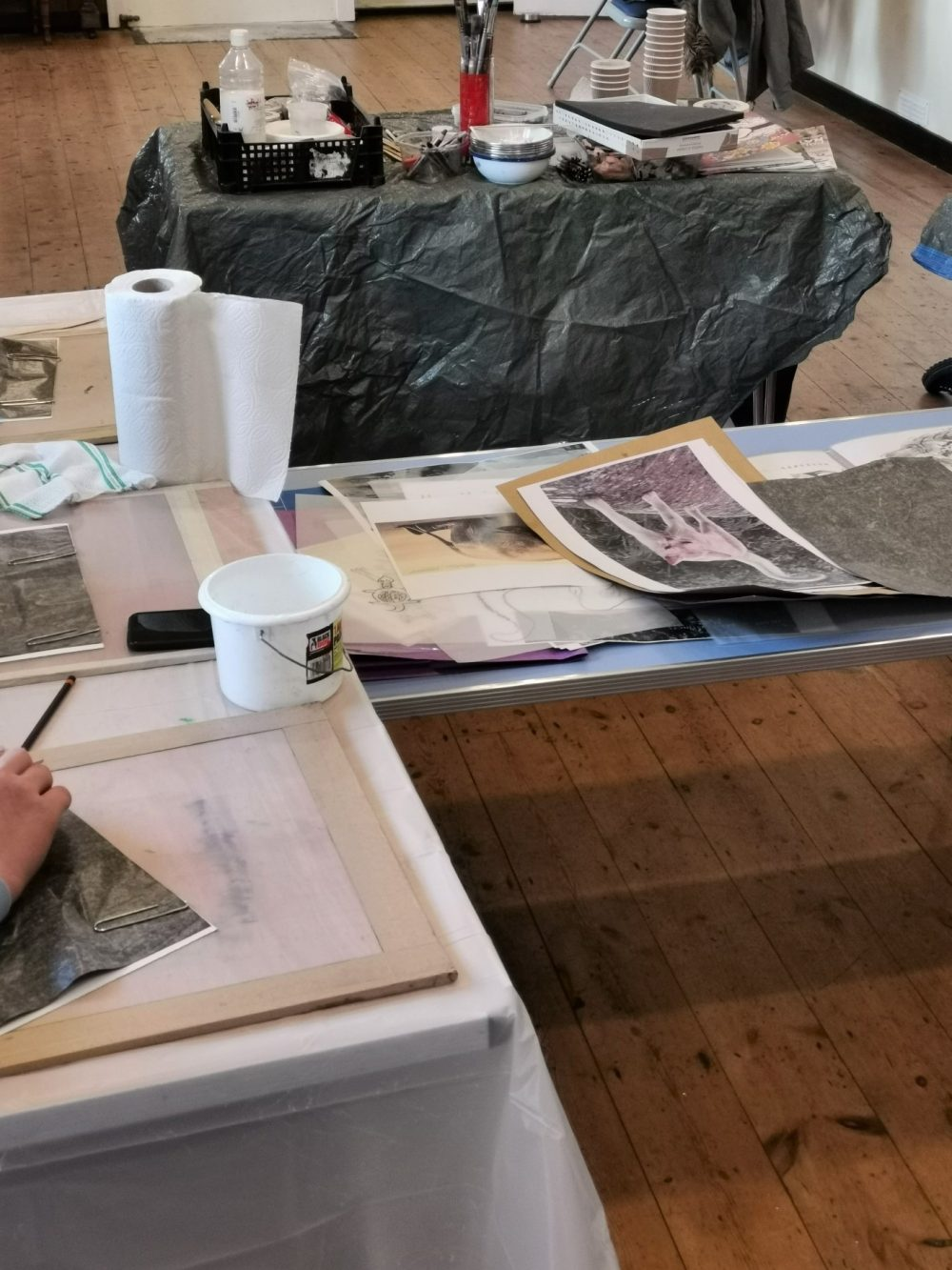 The materials were laid out with printing inks, rollers and boards to rollout ink onto. I wanted it all to feel fun and intriguing.