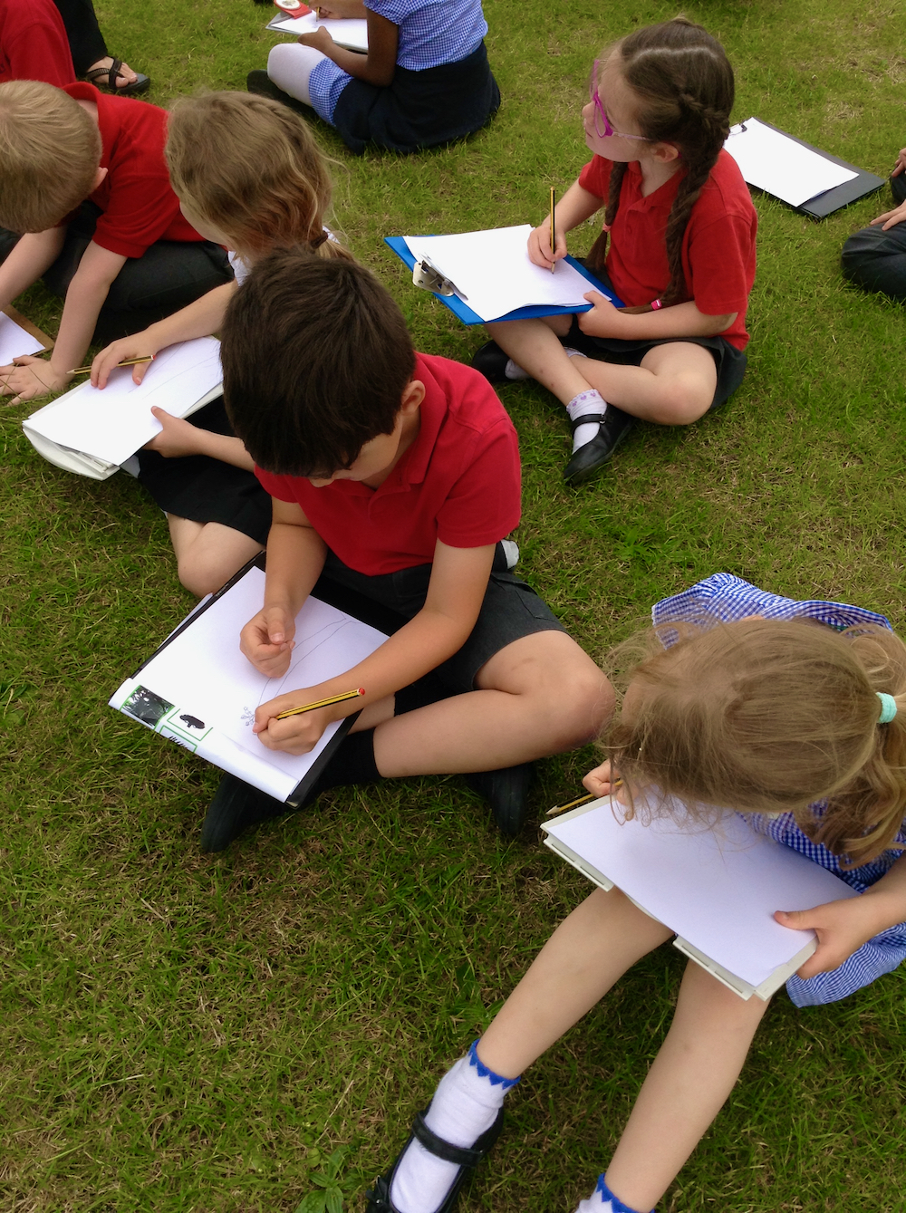 Year One and Two Children from Hauxton Primary School sitting on grass completing worksheets about trees for Inspire with teacher Pamala Stewart