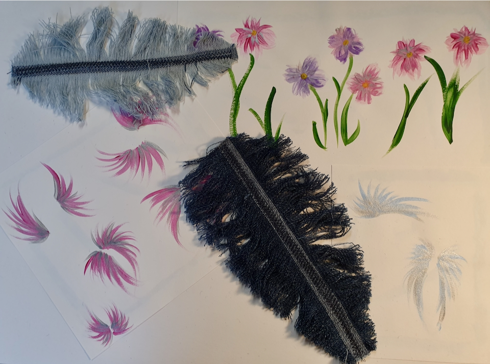 'Fitzy Peters' created feathers out of denim with Natalie Bailey for Inspire