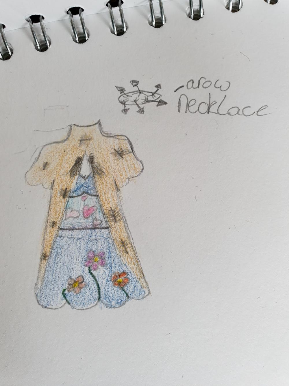 Sketch of Psyche's dress