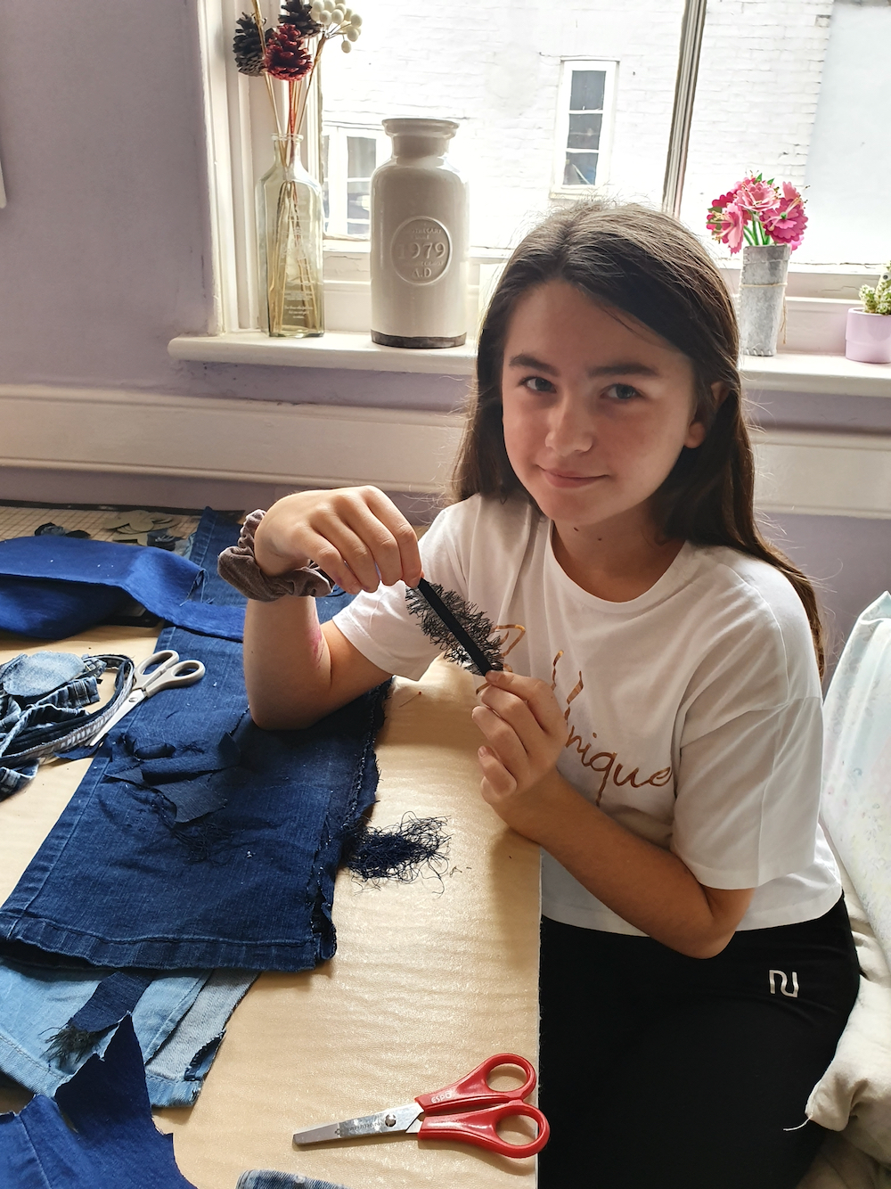Making feathers and tassels for Psyche's dress with Natalie Bailey for Inspire - Fitzwilliam Museum, Cambridge