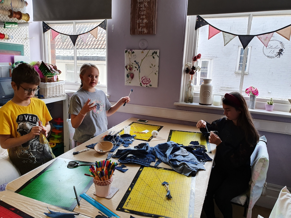 Starting work with denim - The Fitzt Peters working with Natalie Bailey for Inspire