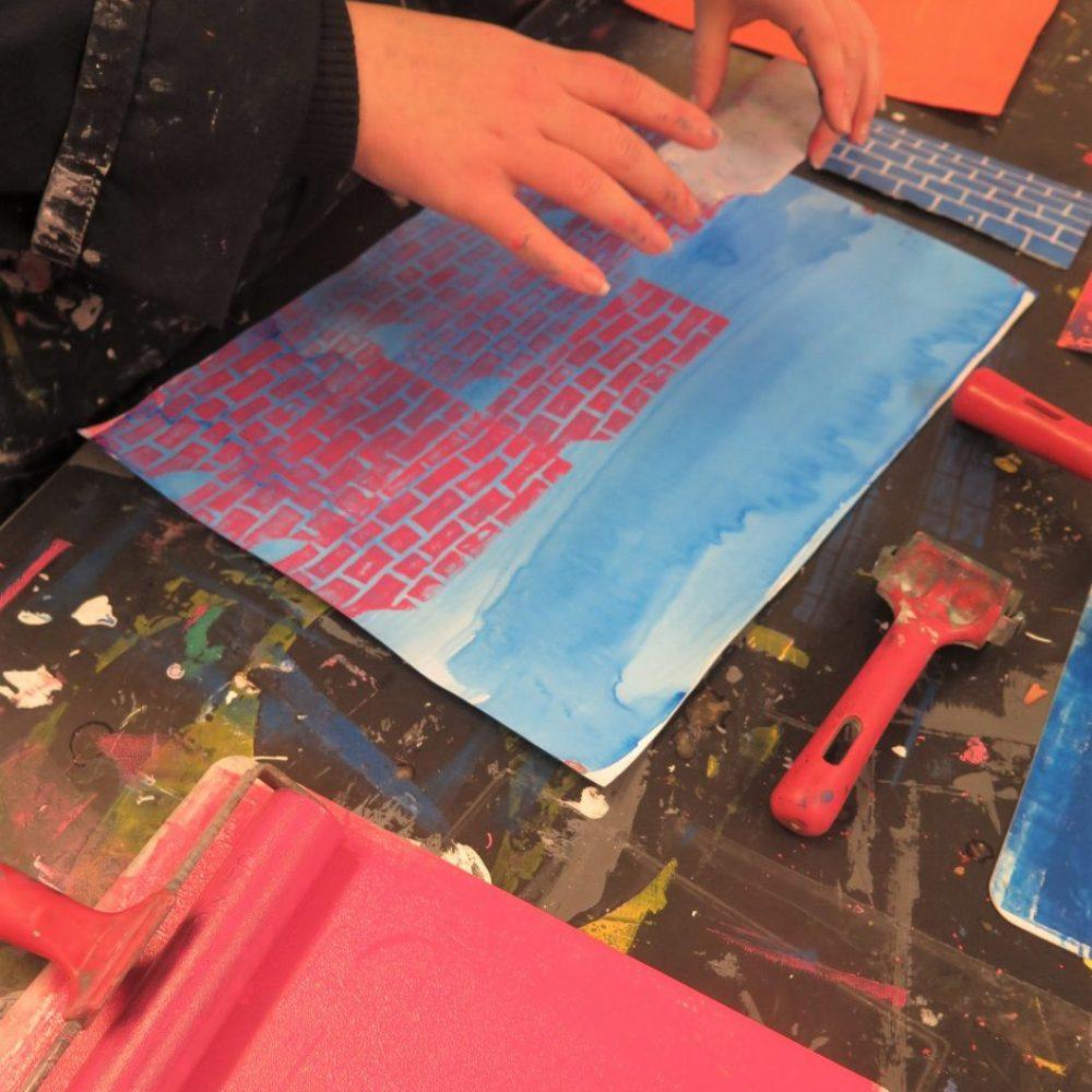 brick print block printing