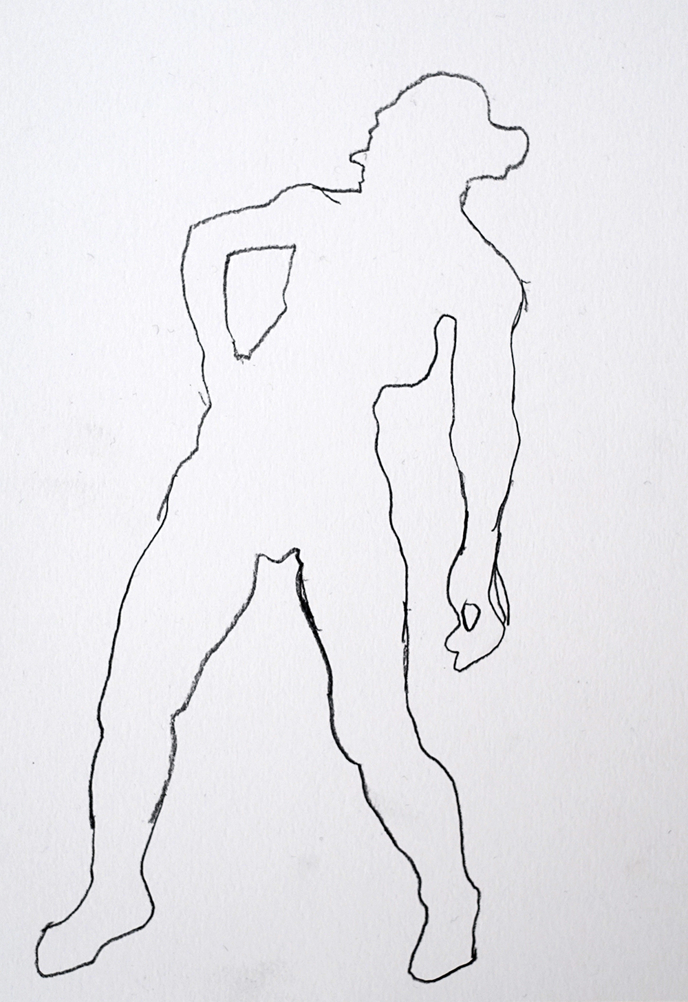 Silhouette drawing of life model