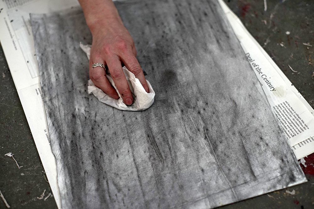 Creating charcoal mid tone on the page