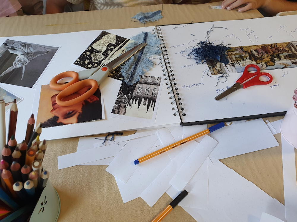 Using sketchbooks and Looking at Cupid and Psyche a Renaissance painting by Del Sellaio and making feathers