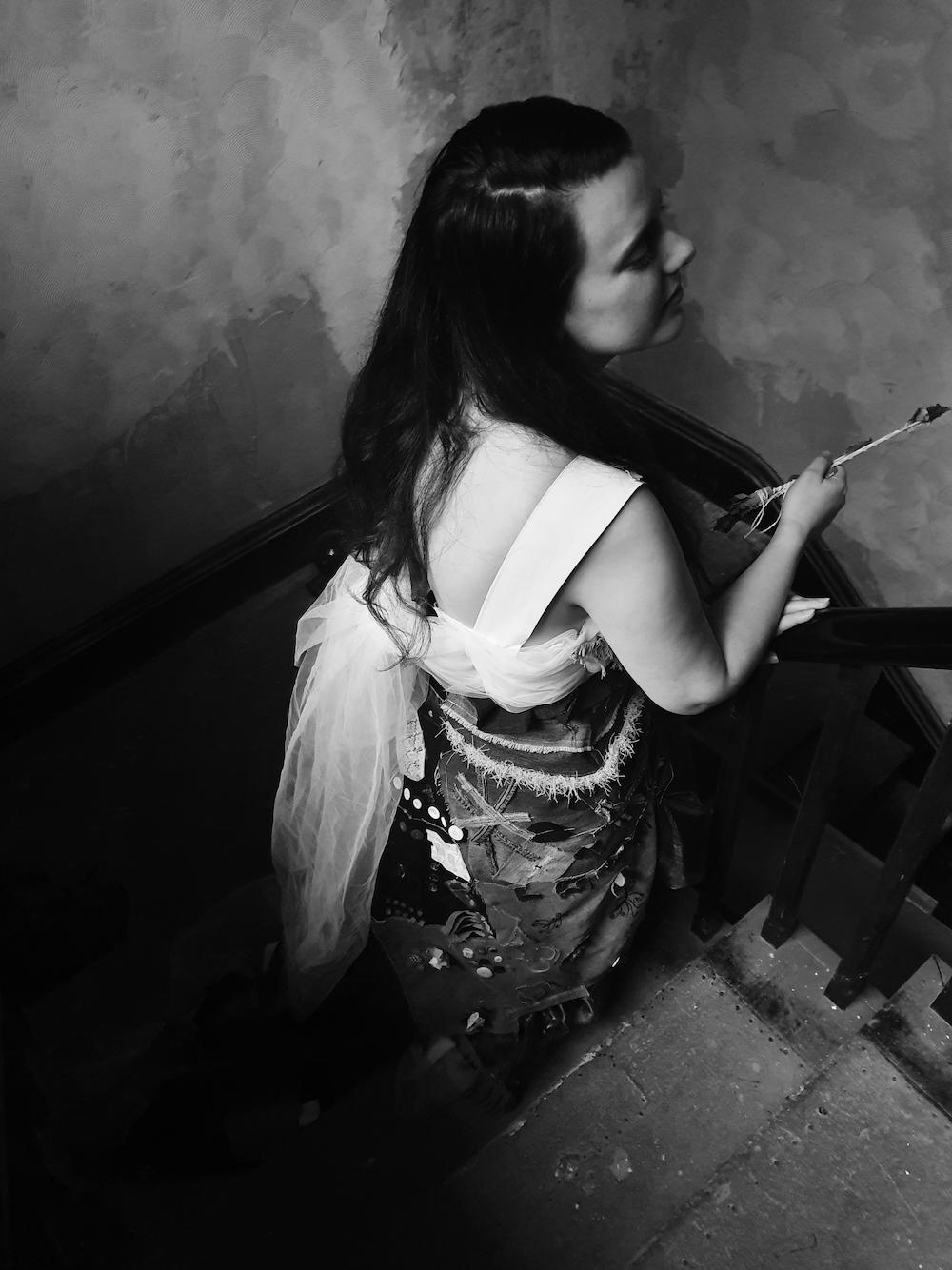 Model wearing Psyche's dress - back view