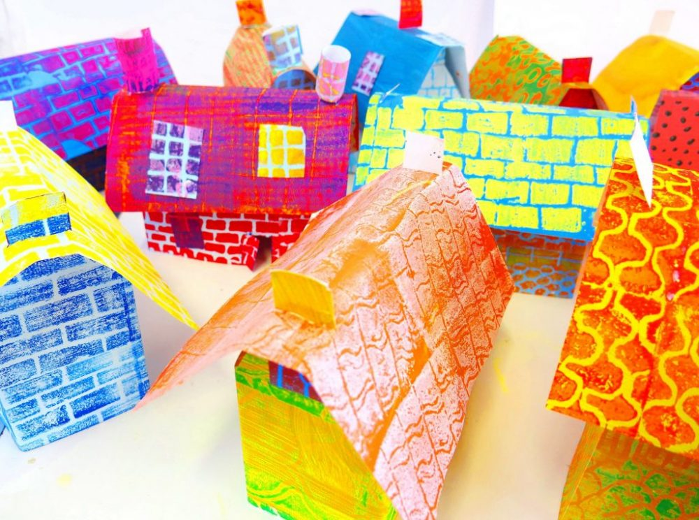 Artist and teacher Jan Miller shares how to make colourful, printed houses. A new resource that happens to be easily adapted as a kitchen table project.