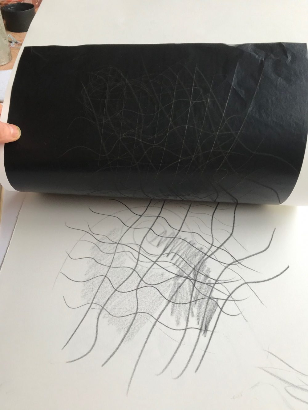 Scribble marks using carbon paper