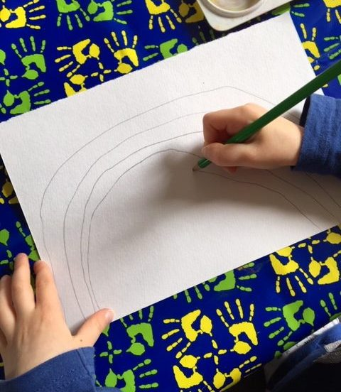 Drawing a rainbow shape with pencil