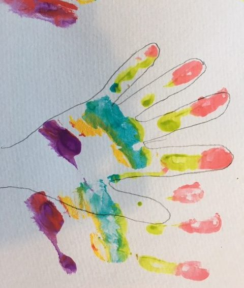 draw around the hand prints