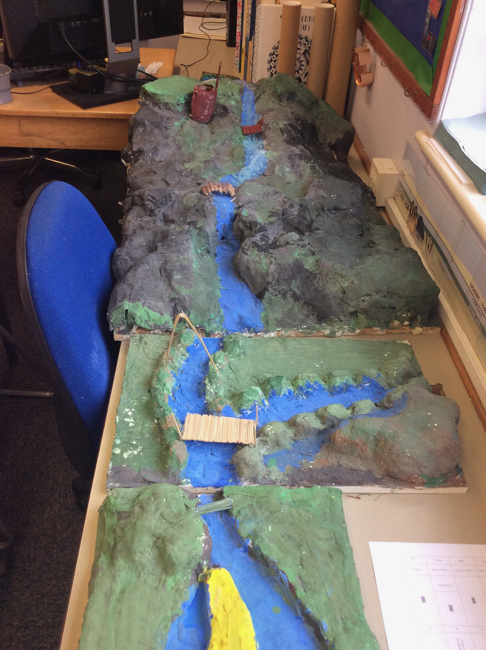Year Six Landscape and River Project with mixed media at Linton Heights - Anna Campbell -