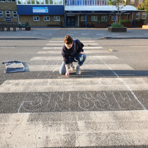 Missing You - Pavement piece by Rowan Briggs Smith during #lockdown 2020