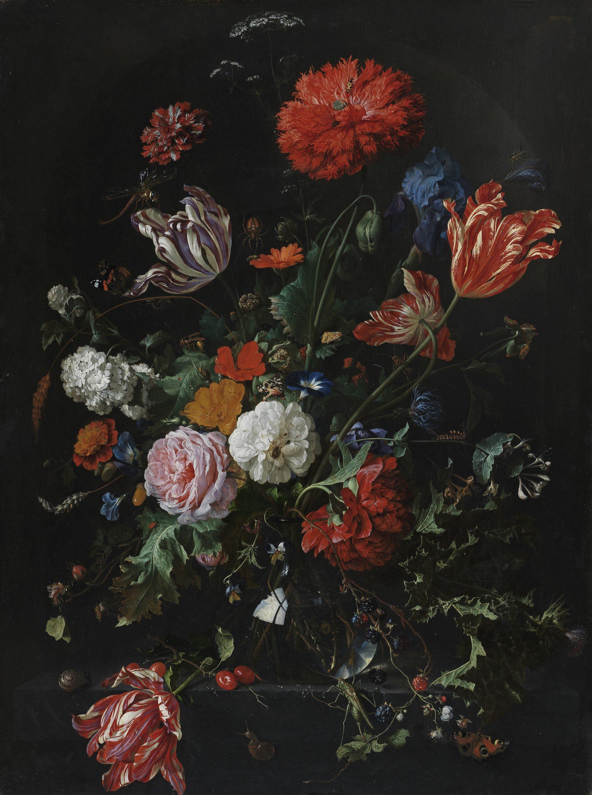 Flowers in a Glass Vase by Jan Davidsz. de Heem, (Dutch, 1606-1683/4). Oil on panel, height 93.2 cm, width 69.6 cm. Dutch/Flemish School (c) The Fitzwilliam Museum, Cambridge