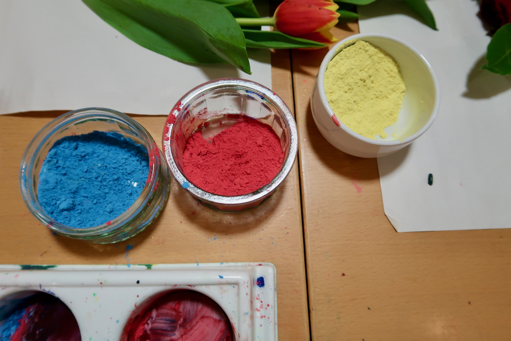 Primary Colours, blue, red and yellow in powder paint at the Fitzwilliam Museum, Cambridge