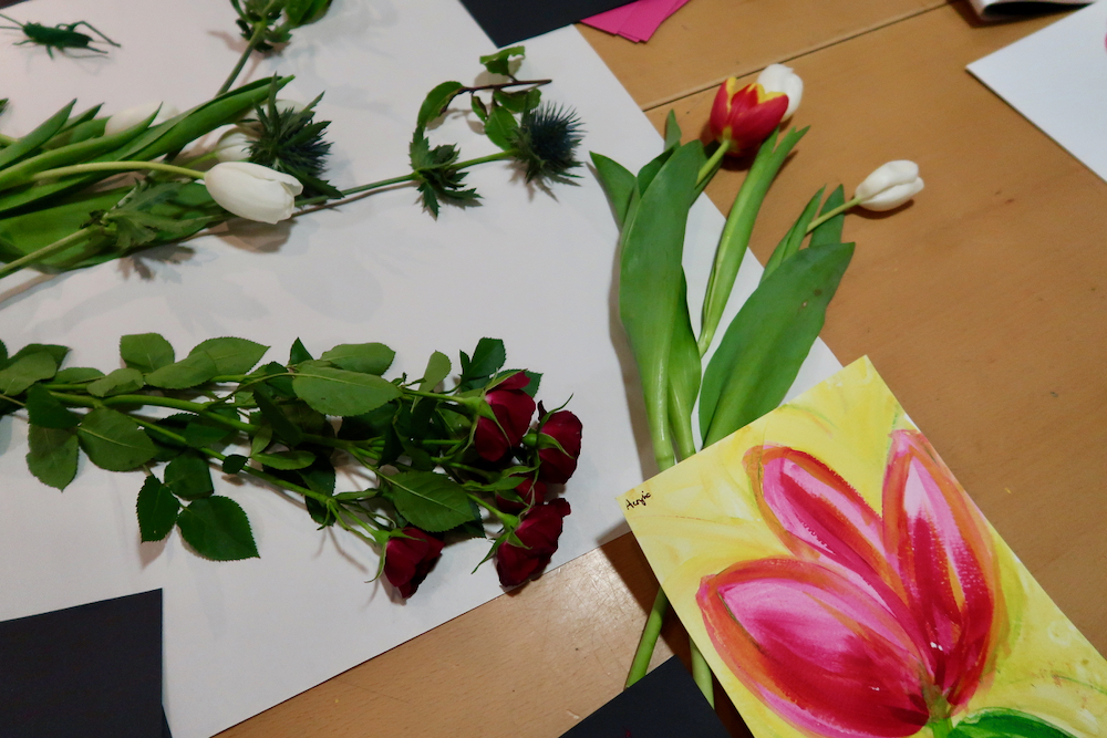 Painting flowers at the Fitzwilliam - de Heem