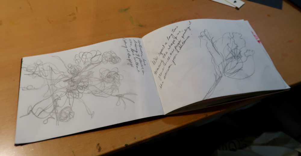Sketchbook pages looking at de Heem's Flowers in a Glass Vase at the Fitzwilliam Museum, Cambridge