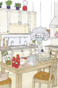 Luca Damiani illustration of Nonna Maria in the kitchen cooking pizza and pasta with a mask