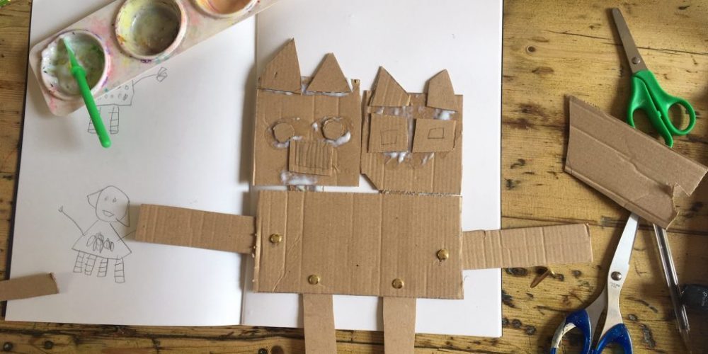 In this table top post AccessArt team member Rachel Thompson shows you how to make a robot using scrap cardboard and split pins to create movable joints.