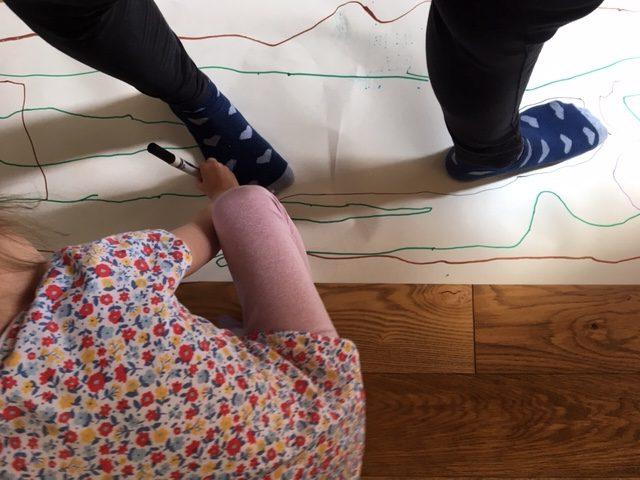drawing round feet