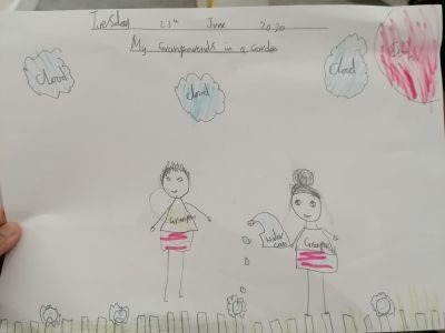 Jia Hari's 'Grandparents in the Garden' from Spinney Primary School (yr 2)