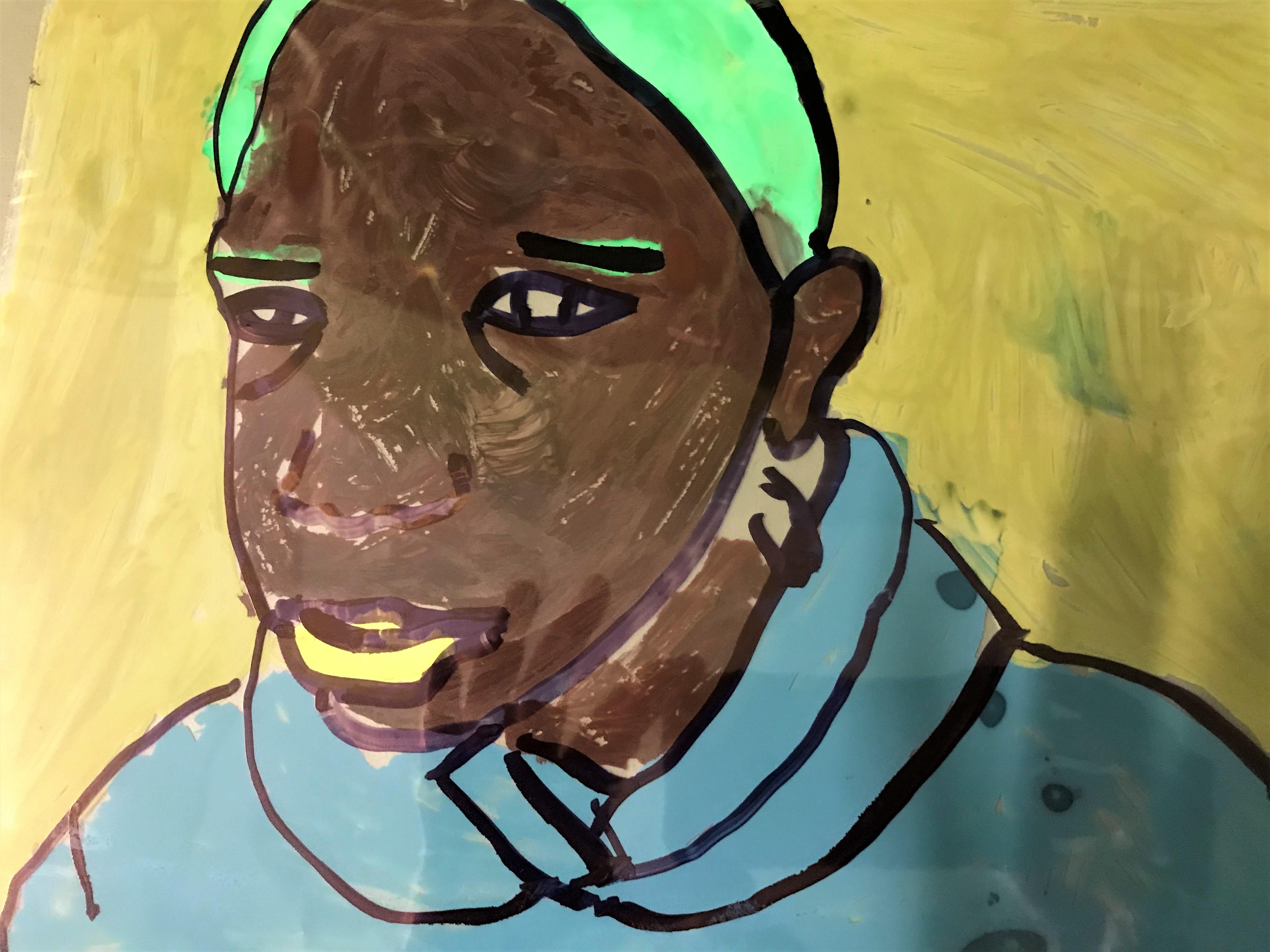 a portrait drawn on acetate with simple colour palette