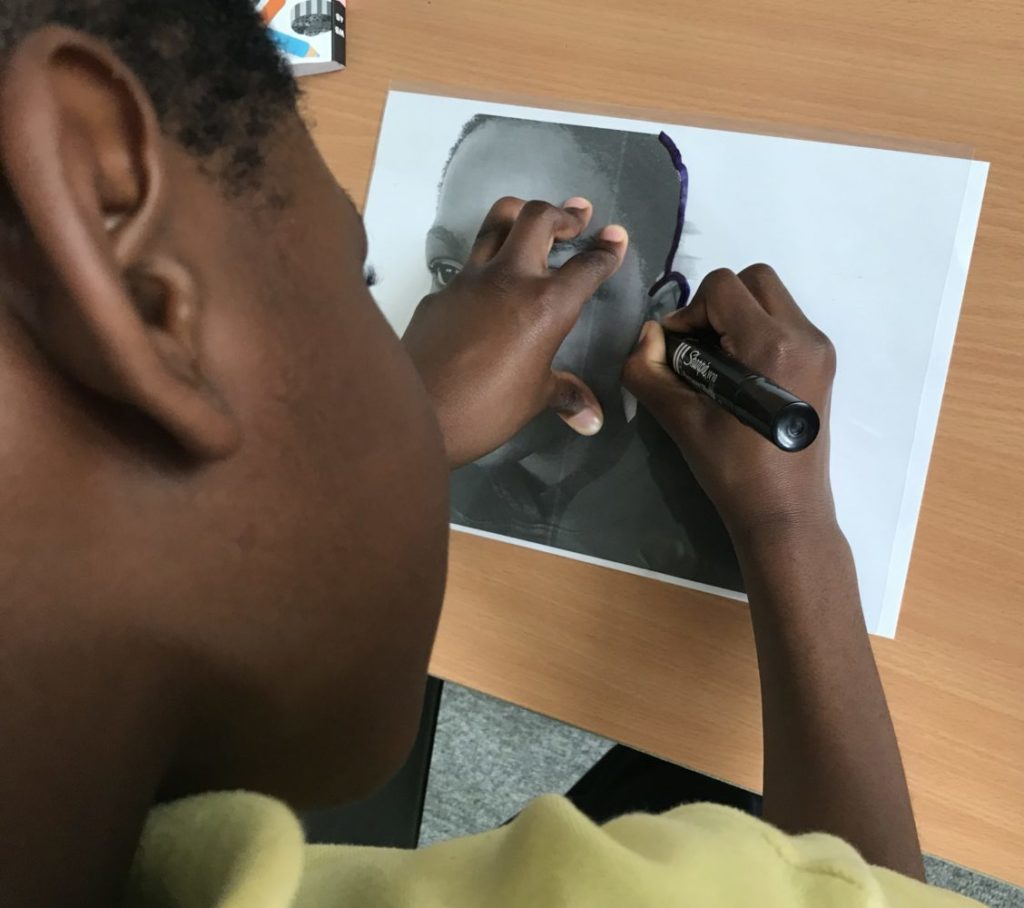 tracing over a photograph