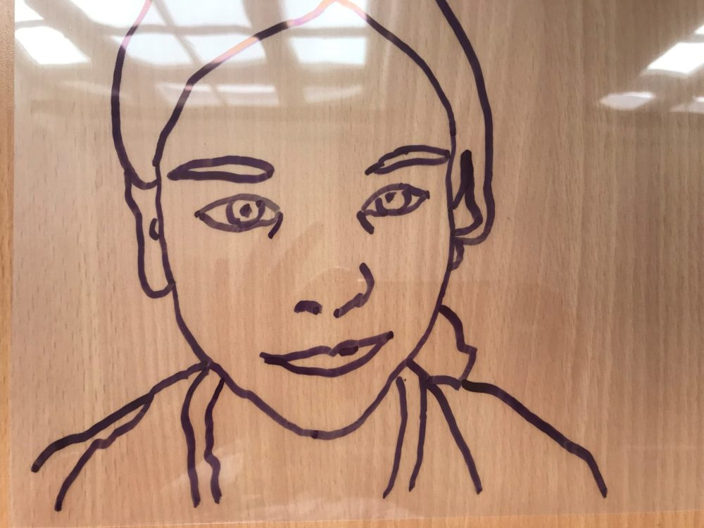 a portrait made with simple traced lines on acetate