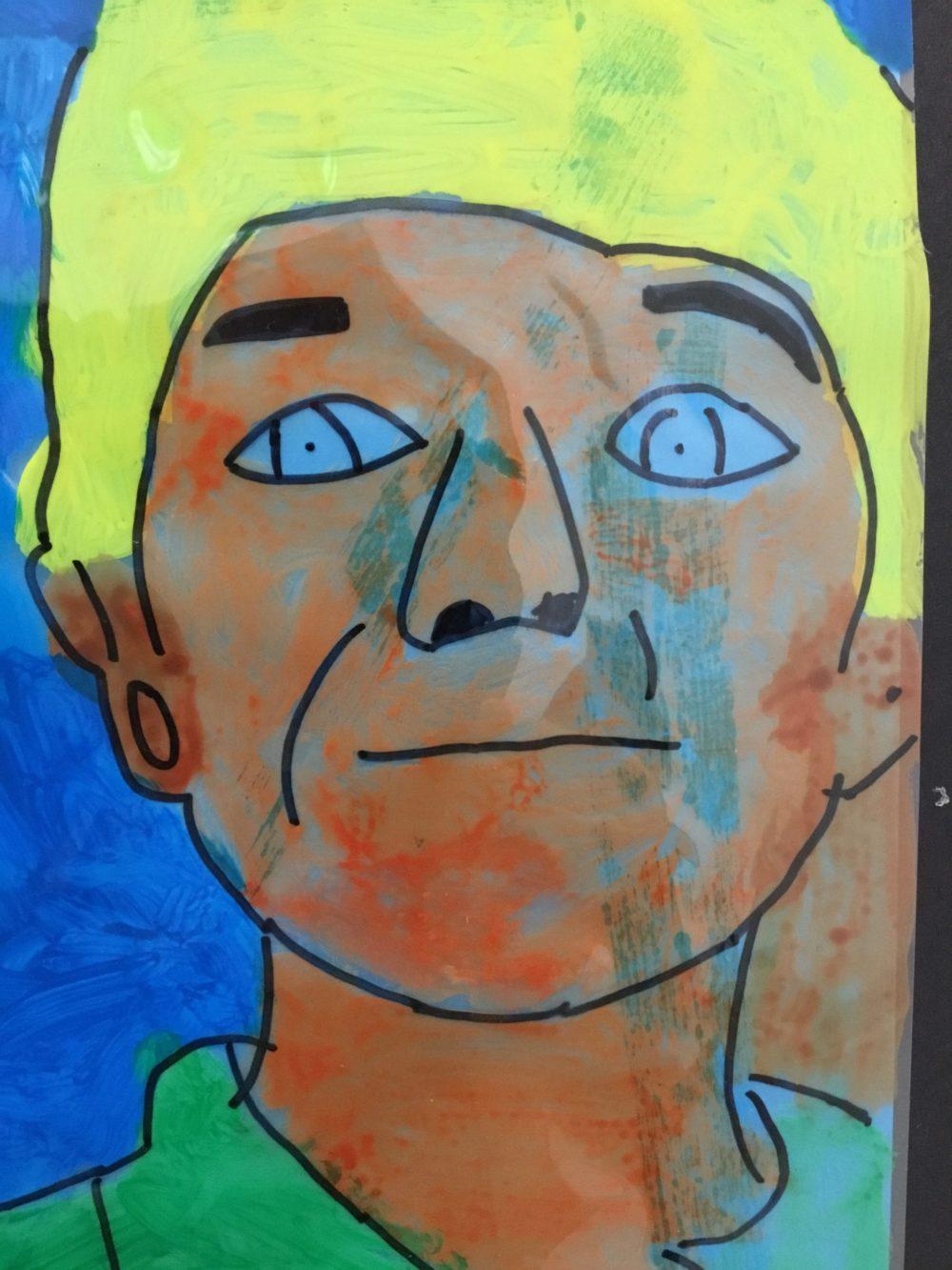 backpainted portrait on acetate using simple colour scheme