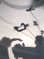 Flying bird shadow puppets