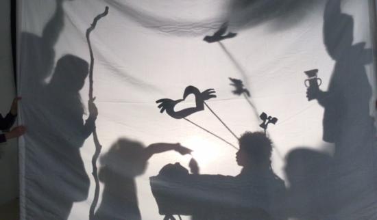 Flying bird shadow puppets