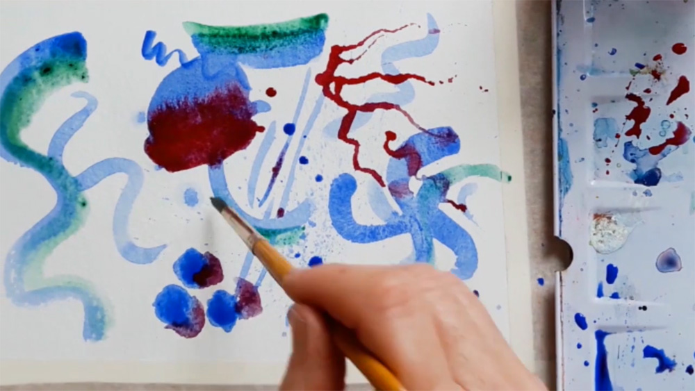 Making marks with watercolour 2 by Emma Burleigh