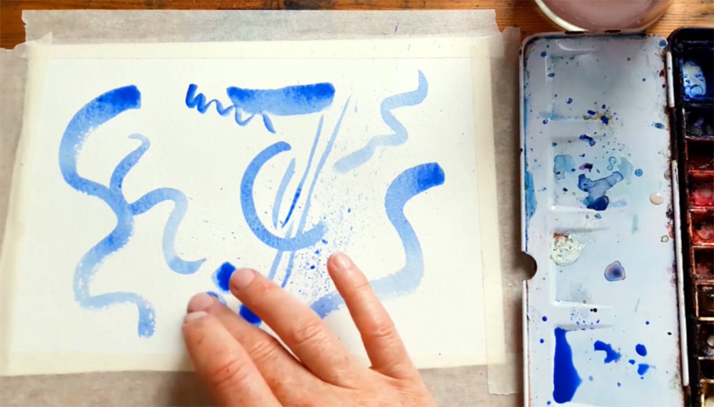 Making marks with watercolour by Emma Burleigh