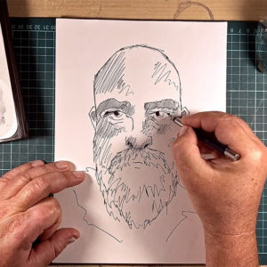 Self portrait shading by Mike Barrett