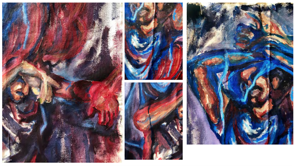 painting of fabric and figures by year 12