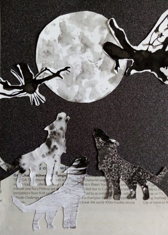 Ink Collage Inspired by 'The Wolf Wilder' by Katherine Rundell