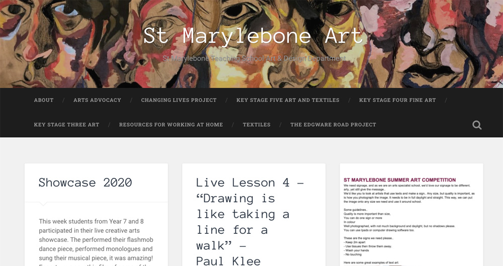 St Marylebone Art website screenshot by Stephanie Cubbin
