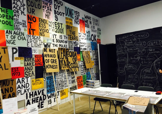 Messages written on paper and stuck on the wall by Stephanie Cubbin