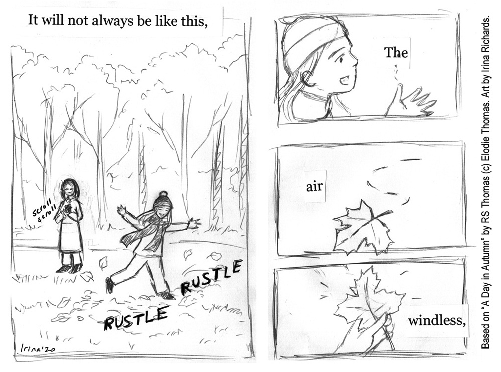"Sketched page 1. Based on the poem ""A Day in Autumn"" by RS Thomas (c) Elodie Thomas. Art by Irina Richards."