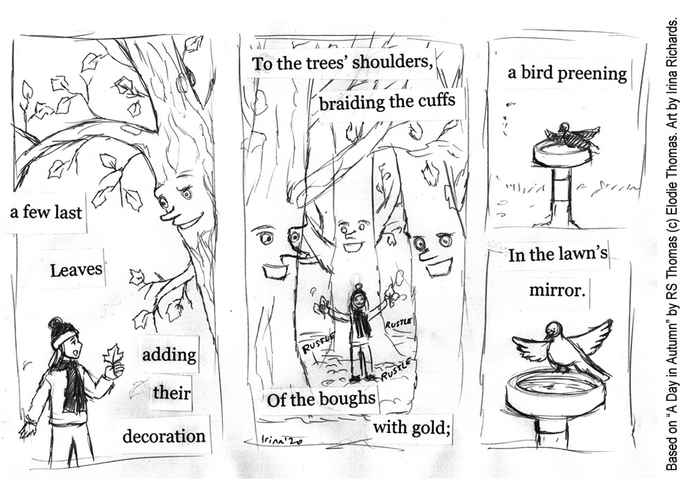 "Sketched page 2. Based on the poem ""A Day in Autumn"" by RS Thomas (c) Elodie Thomas. Art by Irina Richards."