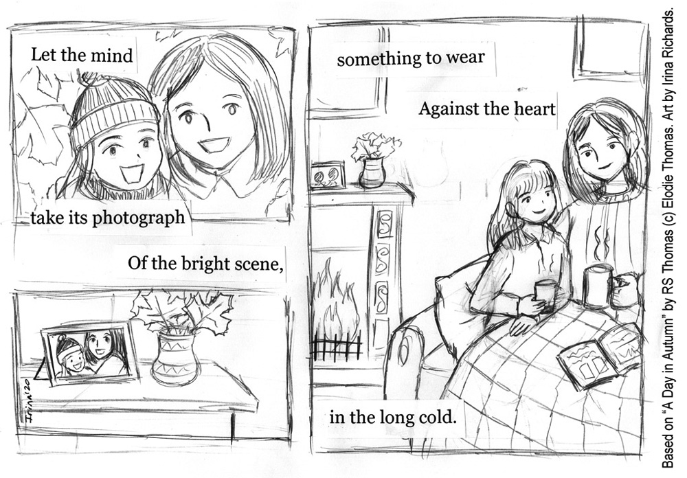 "Sketched page 4. Based on the poem ""A Day in Autumn"" by RS Thomas (c) Elodie Thomas. Art by Irina Richards."