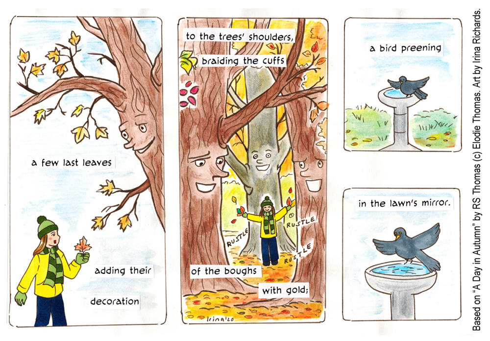 "Finished page 2. Based on the poem ""A Day in Autumn"" by RS Thomas (c) Elodie Thomas. Art by Irina Richards."