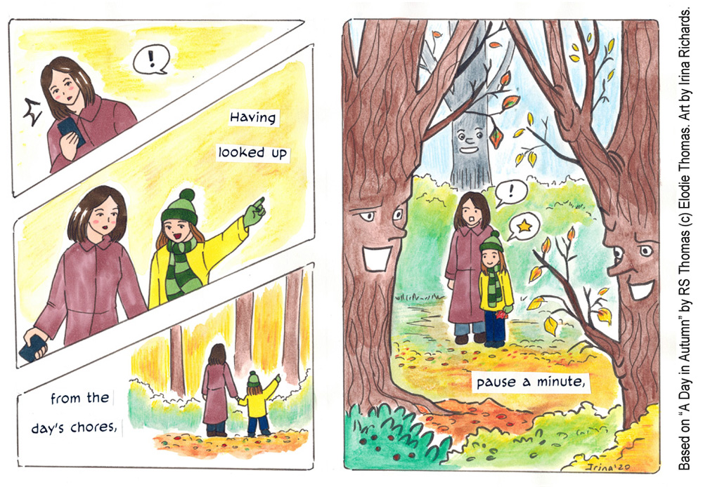 "Finished page 3. Based on the poem ""A Day in Autumn"" by RS Thomas (c) Elodie Thomas. Art by Irina Richards."