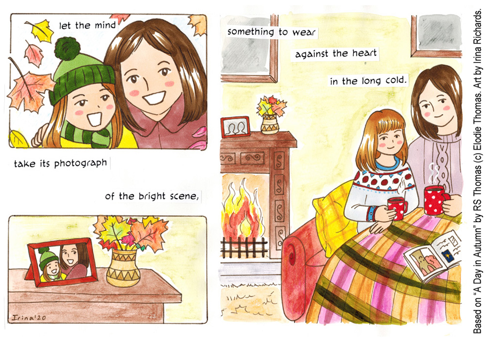 "Finished page 4. Based on the poem ""A Day in Autumn"" by RS Thomas (c) Elodie Thomas. Art by Irina Richards."