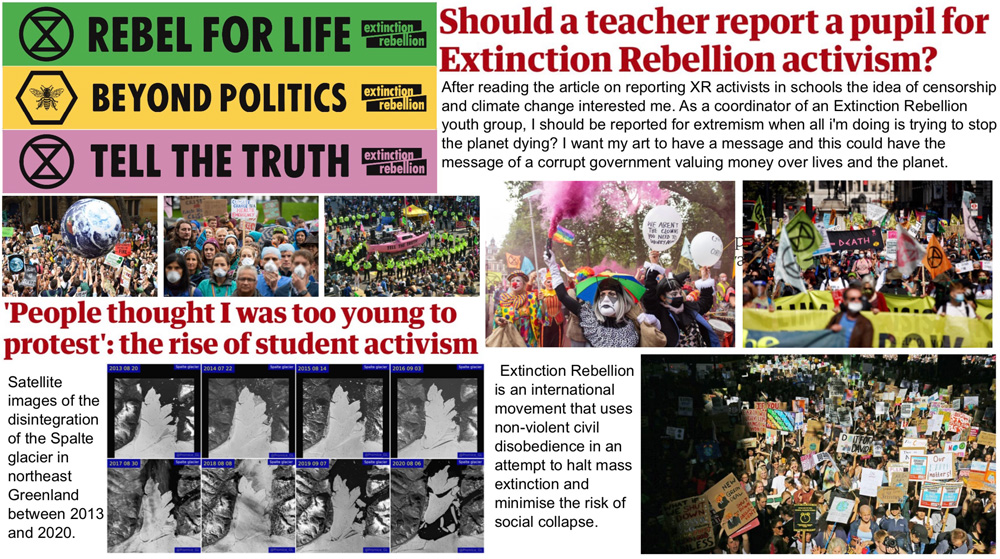Extinction Rebellion research sheet by Stephanie Cubbin