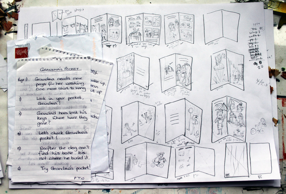 Granny Story sketching out spreads by Rose-Feather
