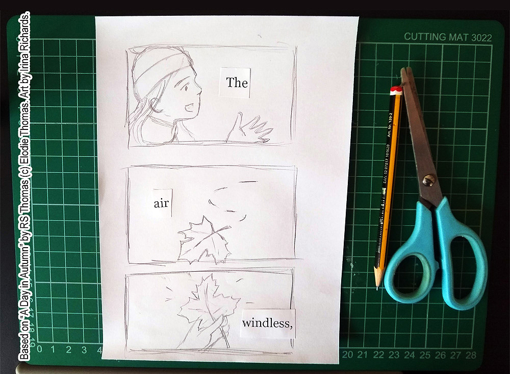 "Comic panels 1. Based on the poem ""A Day in Autumn"" by RS Thomas (c) Elodie Thomas. Art by Irina Richards."
