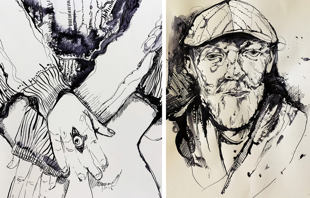 Students' ink portrait and hand drawing by Stephanie Cubbin